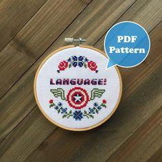 Captain America Cross Stitch Pattern - Language! - The Avengers Cross Stitch Pattern - Age of Ultron