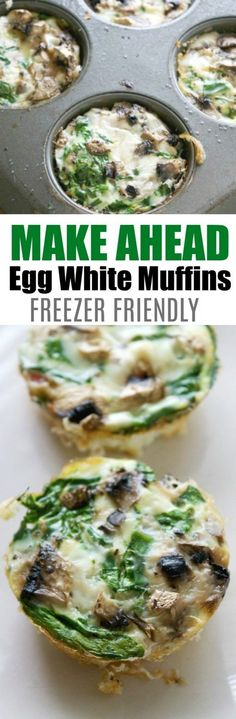 Make Ahead Egg White Muffins. Super Fast and Healthy Breakfast Ideas. Great for Keto Breakfast. These Egg White Muffins are the freezer friendly and make a great breakfast.  via @mellisaswigart