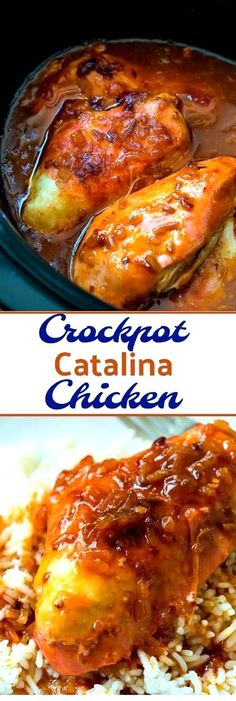 Crockpot Catalina Chicken- only 5 minutes to prep! Crockpot Catalina Chicken is sweet and tangy and makes a delicious family meal served over rice. Only 5 minutes of prep time! Crockpot Dishes, Crock Pot Cooking, Healthy Crockpot Recipes, Easy Chicken Recipes, Slow Cooker Recipes, Beef Recipes, Cooking Recipes, Crockpot Meals, Chicken