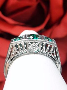 Natural Emerald Sterling Silver Filigree Art Deco 1920's Lattice Ring Size: 7 #SilverEmbraceReproduction #Cocktail #any