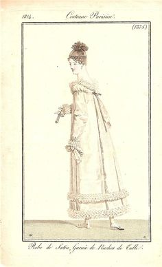 White gown with double ruffle hem 1814 Costume parisien