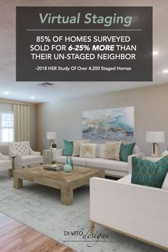 Sell your listings faster with virtual staging! Staged homes typically sell faster and for more than their un-staged neighbor. Virtual Staging, Online Interior Design Services, Dining Table, Homes, Furniture, Home Decor, Homemade Home Decor, Diner Table, Houses