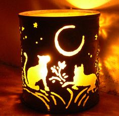 Cat  candle holder  Recycled tin can freehand by SantaFeMoonLights, $25.00
