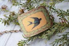 Vintage Flying Swallow Cuff Bracelet - Swallow Bracelet - Shrink Plastic Cuff - Cuff Bracelet - Vintage Cuff