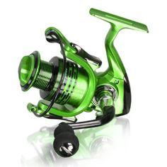 Motring Lightweight Smooth Spinning Fishing Reels with 5.5:1 Gear Ratio Metal Body Collapsible Handle13+1BB for Freshwater Saltwater Fishing (Green, XF4000)