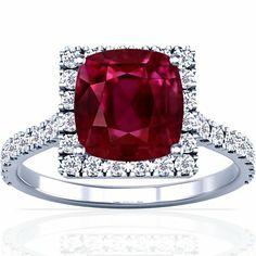 Platinum Cushion Cut Ruby Ring With Sidestones
