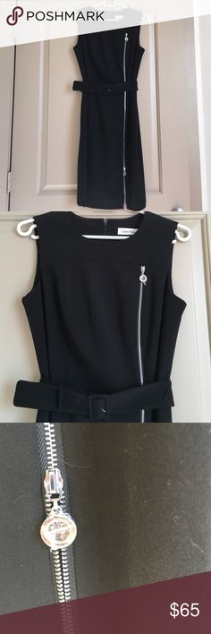 NWOT Calvin Klein LBD Side Zipper Belted Brand new without tags - never worn. Plastic protectors on zippers still on. Classic structured little black dress with silver faux zipper down the side. The zipper do move up and down but doesn't open up the dress, just for style. Comes with matching belt. Also zipper closure up the back, and modest back slit. 63% polyester, 33% rayon, 4% spandex. Fully lined. Size 4 Calvin Klein Dresses