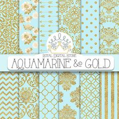"Aqua blue digital paper: ""AQUAMARINE & GOLD"" with aqua blue and gold background, aqua blue scrapbook paper for scrapbooking, cards, wedding"