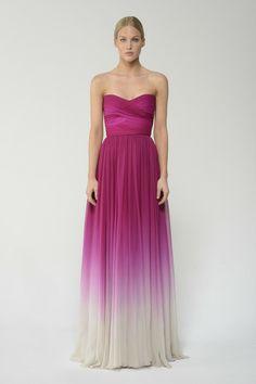 Shop this ombre chiffon strapless gown and more at moniquelhuillier.com #MoniqueLhuillier