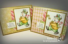 Art Impressions Rubber Stamps: Jolly Snowman Set by Karen Day