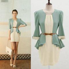 Women's Korean Fashion Office Dress OL 3 4 Sleeve Chiffon Skirt Dress | eBay