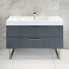 Sleek and sophisticated: the Katia Blum 2 Drawer Unit with Basin and Stainless Steel Legs in Grey will certainly bring a stylish flair to your family bathroom