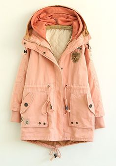 Pink Plain Drawstring Cotton Blend Padded Coat
