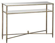 Modern / transitional gold glass console table  $520 Source: http://shop.southshoredecorating.com/UM-24278