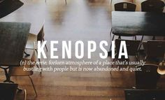 Kenopsia The eerie, forlorn atmosphere of a place that's usually bustling with people but is now abandoned and quiet. 23 Perfect Words For Emotions You Never Realised Anyone Else Felt The Words, Weird Words, Cool Words, Unusual Words, Unique Words, Pretty Words, Beautiful Words, Perfect Word, Aesthetic Words