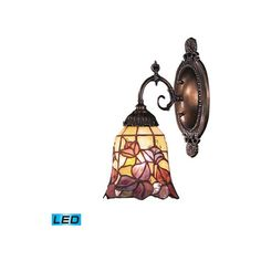 Elk Lighting Mix-N-Match Tiffany Bronze LED One Light Wall Sconce ($168) ❤ liked on Polyvore featuring home, lighting, wall lights, bronze sconces, bronze lighting, bronze wall lights, bronze wall lamp and elk lighting