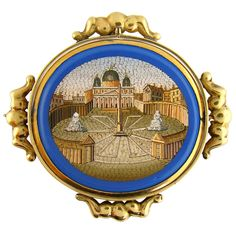 Double-sided micromosaic brooch in gold setting, 1860. One side shows St. Peter's Square, the other side shows the Colosseum.