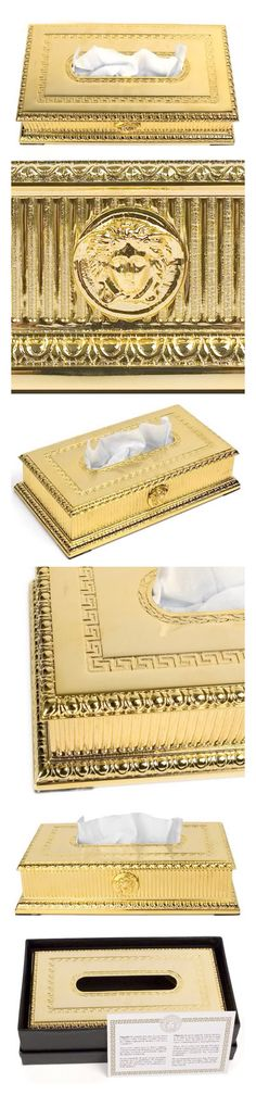 Luxury Versace Gold Accessories for the home ⭐️ Tissue Box 24K Gold Plated