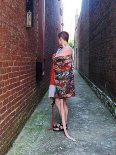 Wrap Skirt/ T Shirt Wrap Skirt or Wrap Sundress with Tribal Print/ Sunset Skirt/ Womens Upcycled CLothing