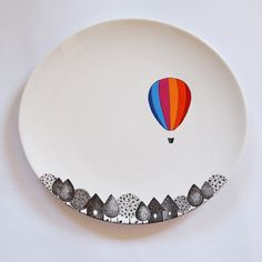 Balloon Striped Plate - Could definitely try this with Sharpies!!