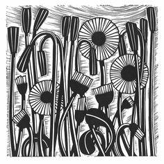 Helen Roddie ~ Daisy Patrol ~ Linocut, 150 x 300 mm Woodcut Art, Linocut Prints, Art Prints, Block Prints, Art Connection, Linoleum Block Printing, Buch Design, Linoprint, Art Abstrait