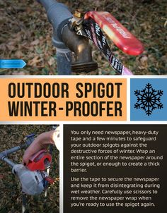 Protect your spigots so you don't have to replace them come springtime.  #SaveMoney #DIYHome #HouseholdTips #Winterize #OutdoorSpigot #Spigot