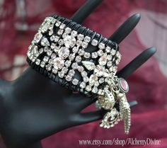 Goth Chic bracelet, black leather, multiple chains,charms. Rhinestone vintage boho chic