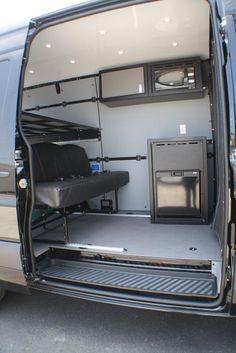 Billedresultat for van conversion interior ideas Cargo Van Conversion, Van Conversion Interior, Sprinter Van Conversion, Van Interior, Camper Conversion, Interior Ideas, Mercedes Sprinter Camper, Truck Camper, Camper Van