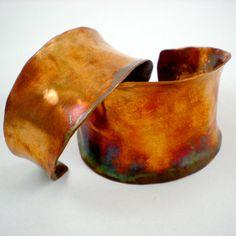 Heat Treated Copper Cuff. Love