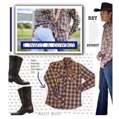 I want a Cowboy #bulletblues by bulletblues on Polyvore featuring ARI, Bullet, men's fashion and menswear #denim @polyvore #cowboy #menswear #countrystyle #rodeo