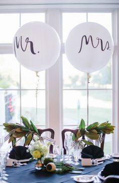 @mikaellabridal | Real Bride, Wedding Day Idea. Every bride has their own way to decorate the Mr. and Mrs. table. We love seeing all the different ideas!