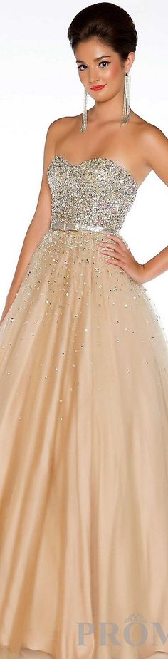 Fashion long formal dress #strapless #glitter #sexy #nude #silver <3