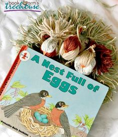 A simple and decorative bird nest yarn craft for children to create while learning about birds and their life cycles. Craft Activities, Yarn Crafts, Nest, Homeschool, Crafts For Kids, Printables, Birds, Create, Learning
