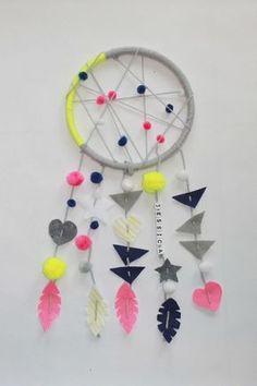 lustige Idee für einfachen Traumfänger mit Akzenten in Neonfarben