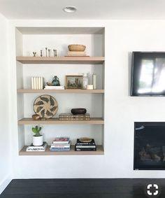 Storage shelves living room display 43 ideas for 2019 Living Room Shelves, Home Living Room, Living Room Decor, Recessed Shelves, Storage Shelves, Shelving, Home Fireplace, Interior Design Living Room, Home Decor