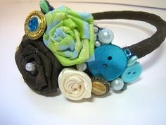 Flower Girl Wedding Headband  Dark Brown Lime Green and Turquoise by handartdesignstudios, $25.00