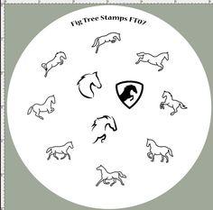 FT07 Horse Nail Stamping Plate, Badge Portrait Silhouette Outline Running Jumping Horses. Handmade Nail Art Stamp Plates, Custom Engraved