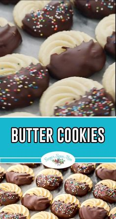 Butter Cookies are a classic favorite holiday cookie but they're also great all year around! Butter Cookies are a classic favorite holiday cookie but they're also great all year around! Holiday Cookie Recipes, Chocolate Cookie Recipes, Peanut Butter Cookie Recipe, Easy Cookie Recipes, Sugar Cookies Recipe, Holiday Desserts, Holiday Baking, Christmas Baking, Easter Recipes