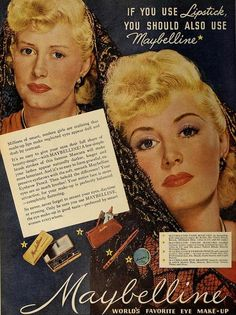 Maybelline Eye Makeup Ad, February 1949