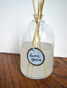 Homemade Oil Diffusers -   Mineral Oil  Essential Oils {I used lemon & grapefruit for one, lavender for another}  Vodka {anything that has vodka in it has to be awesome right?}  A small bottle. Ideally something with a narrow mouth and wider bottom. I bought thisand this.. Vanilla extract comes in something similar.  Reed Diffuser/kebab skewers  - bjl