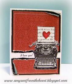 Amy's Art from the Heart, CTMH, heartstrings, typed note, typewriter, valentine's card,
