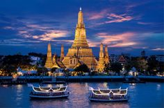 Bangkok - Temple of Dawn from the Chao Phraya River.   Find out more to plan your trip here http://bit.ly/R0tOuT