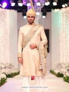 Radiate Style Royal Look #Pakistani Designer #Bridal Sherwani Suit For Groom http://www.needlehole.com/peach-jamawar-wedding-sherwanis-for-men.html?utm_content=kuku.io&utm_medium=social&utm_source=www.pinterest.com&utm_campaign=kuku.io #FridayFeeling