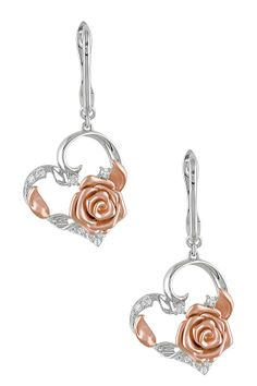14K White & Rose Gold with Diamonds Rose Heart Earrings - 0.20 ctw