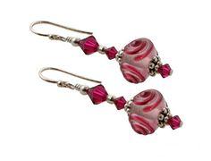 Pink Swirl Lampwork Bead Earrings