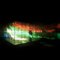 Marinella Pirelli - Filmambiente /Environmental Screen, 1968  - Struttura in acciaio, teli serigrafati, proiezioni luminose