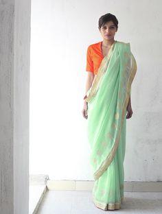 Mint & Orange Chanderi & Zari Marigold #Saree By Raw Mango.