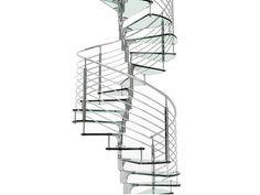 Escalera de caracol de acero inoxidable y vidrio ANIMA