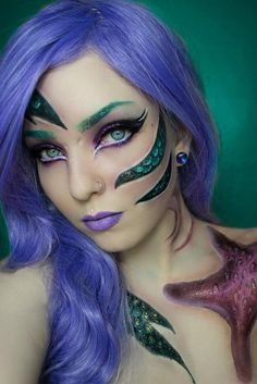 this is my updated mermaid look! Wig is violetta by I also used zodiac glitters libra on the eyes and Pisces on the scales! I used lip lacquer in velvet depravity and finally my new palette for all the beautiful colours you see! Makeup Fx, Queen Makeup, Cosplay Makeup, Lush Wigs, Maquillaje Halloween, Theatrical Makeup, Mermaid Makeup, Mermaid Costume Makeup, Fairy Makeup