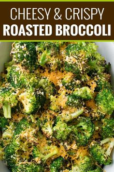 Simple ingredients and an easy 5 minutes of prep is all it takes to get this mouthwatering roasted broccoli in the oven!  You'll love the cheesy topping, and even non-veggie lovers will go crazy over this healthy side dish!! #broccoli #roastedbroccoli #weightwatchers #freestyle #smartpoints